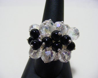 Mystic Clear Quartz and Black Onyx Gemstone Adjustable Ring