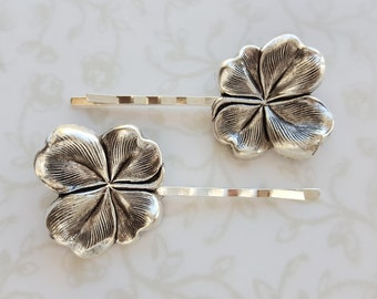 Silver Four Leaf Clover Hairpins, St. Patricks Day, Lucky, Irish, March, Set of Two, Bobby Pins, Spring, Woodland, Nature, Wedding Bridal