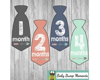 Baby Tie Stickers Boy, Monthly Baby Stickers, Tie Monthly Stickers, Set of 12 Month by Month Stickers
