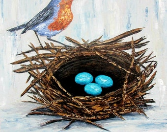 Bird's Nest Painting, Robin eggs, Original palette knife painting on 20 x 20 canvas, home decor, wall art