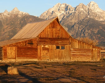 Old Barn photo print, Grand Teton mountains art, landscape photography, large country picture canvas wall decor 8x10 11x14 16x20 20x30 30x45