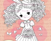 PNG Spring Sprite Digital Stamp - Girl Elf in Easter Dress - Instant Download - Fantasy Line Art for Cards and Crafts - Aurora Wings Sprites