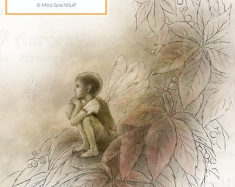 Digital Stamp - Instant Download - Forgotten Summer - Boy Fae Sitting on Leaves - Evocative Fantasy Line Art for Cards & Crafts