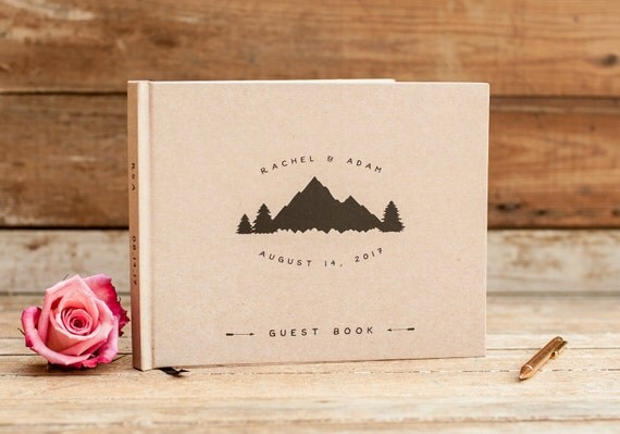 Wedding Guest Book landscape horizontal mountain wedding guestbook personalized rustic hardcover album planner lined pages instant photo