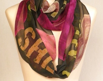 Proverbs 31:25 (partial quote) - Hand Painted Silk Chiffon Infinity Scarf with Block Text and Roses - dark olive-brown background