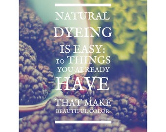 NATURAL DYEING is Easy: 10 Things You Already Have That Make Beautiful Color / E-Book / Instant Download