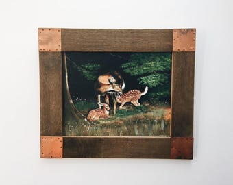 Deer Family Painting with Rustic Wood and Copper Frame. Doe and Fawn Acrylic Painting with Handmade Frame. Woodland Nature Painting