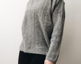 Angora and Lambswool Gray Sweater. Soft Turtleneck Sweater.