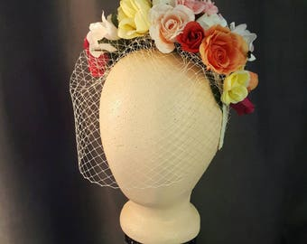 Multicolor Rose Headband with Cage Veil