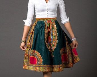 African Ankara midi lenght High Waist Skirt; African Clothing; African fashion; African Print; African Skirt; Clothing (ZOYA midi skirt)