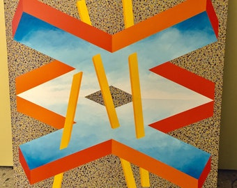 "Huge Vintage Gary Hinsche Geometric Hard Edge Color Field Art Canvas 48 x 48"" 1980s"