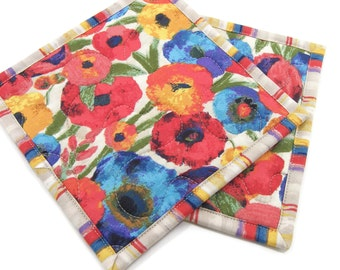 Floral Hot Pads, Quilted Pot Holders - Colorful Flowers on Ivory Kitchen Potholders Set of Two 8 Inch Square