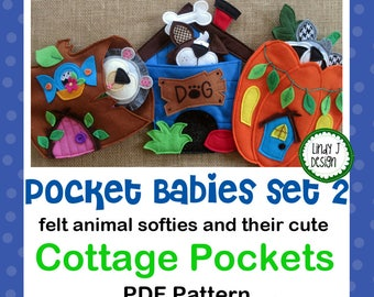 Pocket Babies Set 2 FELT SOFTIE PDF Pattern Animals and Cottages Instant Download