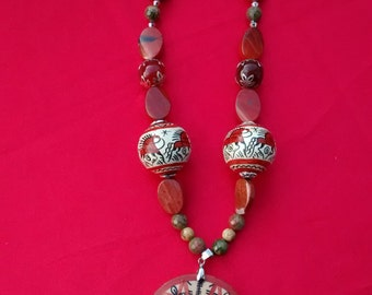 Woodland magic - Jasper and painted Russian wood necklace