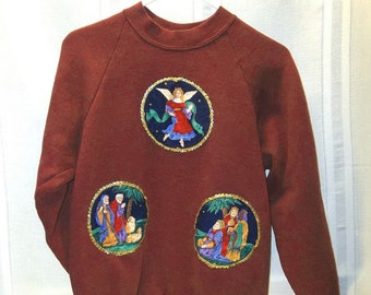 Red Sweatshirt with Christmas Appliques