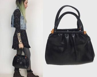 60's Black Leather Minimalist Handbag Purse - Dressy Black Vintage Bag Plastic Accents - Leather Everyday Handbag 50's 60's MOD