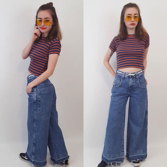 90's JNCO Ultra Wide Leg Denim Light Wash Size 0 High Waist - Extra Small XS Boys Skater Pants Grunge Wide Leg Jeans Raw Frayed Hem