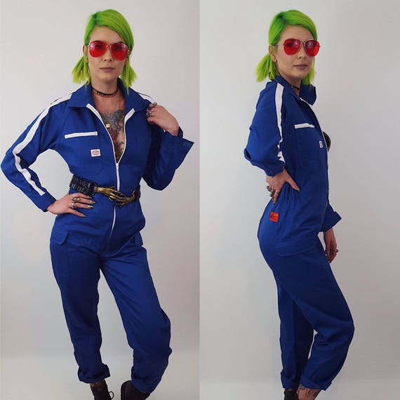 1980s Vintage Blue Coveralls Size Large Unisex Jumpsuit - 80's Retro Pants Jumpsuit Work Suit Overalls Pants Suit Men Women Made in Japan