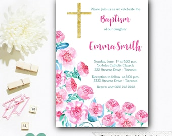 Baptism Floral Invitation - Christening Floral Invitation - Baptism Flower Invitation - Watercolor Invitation - Pink Christening Invite