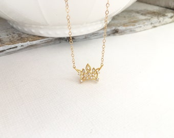 Tiara Necklace, Gold Crown Necklace, Gold CZ Tiara Charm Necklace, My Princess Necklace, Little Girl Jewelry