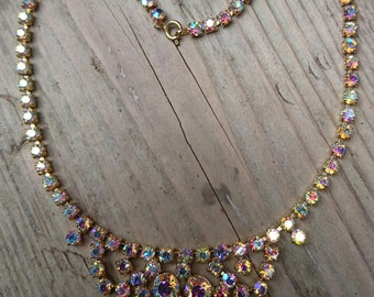 Vintage Iridescent rhinestone necklace