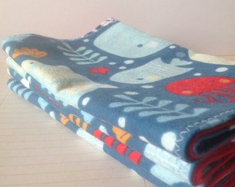 Handcrafted flannel burp cloths *Sea life*