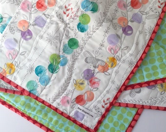 Whole Cloth Quilt for Baby Girl | Pink and Blue Baby Quilt | Modern Baby Girl Quilt