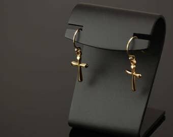 Tiny gold cross earrings. Small gold cross earrings. Gold filled cross earrings