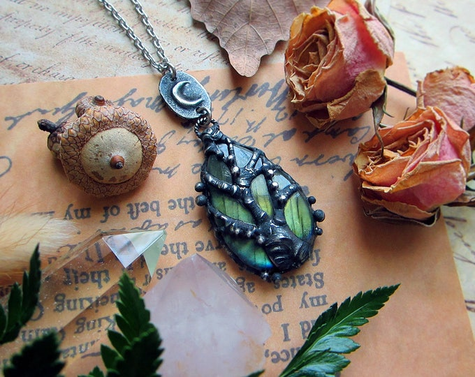 GoT inspired necklace with tree of life on green-blue labradorite paired with rustic crescent moon. Custom length stainless steel chain.