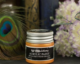 Fresh Orange Art Alchemy Metallic Acrylic Paint - Thick, Shiny Acrylic Craft paint