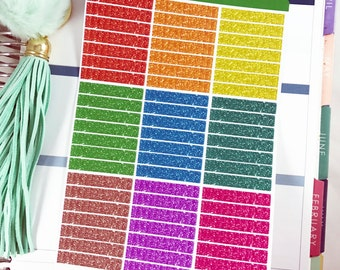 Rainbow Glitter Planner Header Sticker   Top Stickers for Erin Condren Planner / Rainbow Header Stickers / Glittery Sparkle Headers