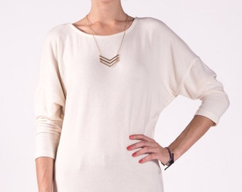 Sweater Top / Cream Top / Dolman Top / Cashmere Sweater Feel / Long Sleeve Top / Women Sweaters / Jersey Sweater / Eco-Friendly Top