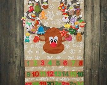 Reindeer christmas advent calendar countdown christmas religious calendar felt christmas ornament christmas decoration pocket calendar