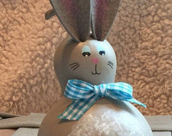 Easter Bunny Gourd, Spring Rabbit, Blue Plaid Bow