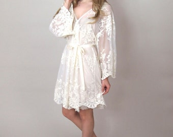 HELENA - Bride Robe - Guipiere lace lingerie kimono - bridal dressing gown - trousseau - lingerie - honeymoon lingerie - lace