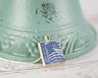 Heart of Texas Scrabble Tile Charm Necklace, Inspirational, Gift Ideas for Women, Vintage Style, Texas Pride, Vintage Postage Stamp Jewelry