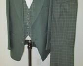 44R, 1970's 3 piece Suit, Reversible Vest, Mid Century Suit, Mad Men Suit,  Vintage suit,3 piece suit, Green Plaid Mens suit, Mens Suits