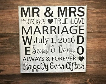 Bridal Shower Gift for Bride, Wedding Gift, Gift for Bride and Groom, Wedding Sign, Happily Ever After, Wedding Shower, Anniversary Gift