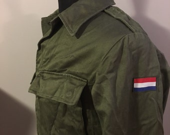 Vintage Dutch Military Utility Shirt, Size Large