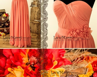 Strapless Chiffon Bridesmaid Dress in Floor Length   A Line Bridesmaid Dress, Coral Bridesmaid Dress, Prom Dress, Long Bridesmaid Dress
