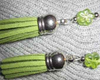 Tassel Collection-Lime Tassels with Flower Accent Earrings