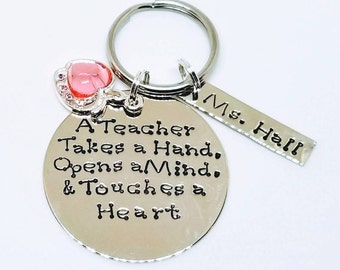 Personalized Teacher Keychain, beginning of year gift, end of the year gift-Hand Stamped Metal Accessories