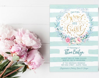 Brunch and Bubbly Floral Boho Bridal Shower Invitation - Mint and Gold Wreath Printed or Printable Invites