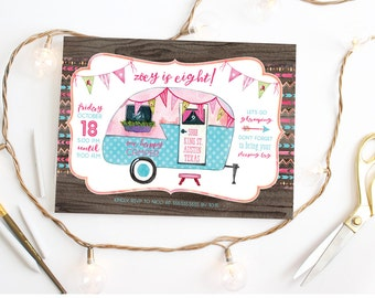 Camping Birthday Party Invitation - Glamping Invite for a Girl - Printed or Printable Cards