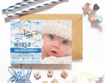 Airplane Birth Announcements for a Baby Boy - Welcome to the World Baby Announcements - Printable or Printed