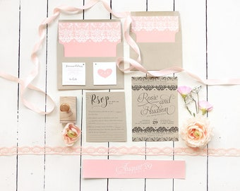 Blush and Kraft Wedding Invitation Set - Rustic Suite for a Country Wedding - Pink Lace Wedding Invites - Printable or Printed