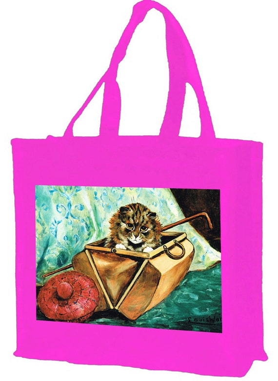 Louis Wain Gladstone Cat Cotton Shopping Bag with gusset and long handles, 3 colour options