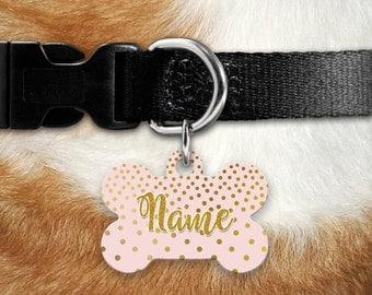 Pet ID Tag - Pink Gold Identification Tag - Dog Tag - Custom Pet Tag - Personalized Pet ID - Pet Gift - Pet Supplies - Puppy ID Tag - Bones