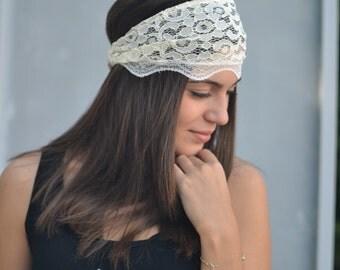 Handmade Headbands, Hippie Headband, Fashion Headbands, Womens Head Wraps, Vintage Headbands, Lace Headband, Champagne Headband, Ivory Band
