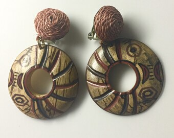 30% DISCOUNT SALE Vintage Handmade Wooden Tiki Style Clip-on Earrings (#2)
